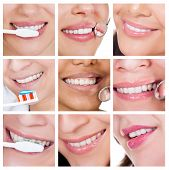 Collage Of Smiling Woman Cleaning Her Teeth