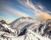 The top of Mount Elbrus. The reverse side of the mountain