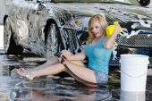 Blonde Model At The Car Wash