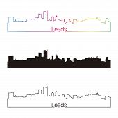 Leeds Skyline Linear Style With Rainbow