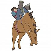 pic of bronco  - An image of a cowboy riding a bucking bronco horse - JPG