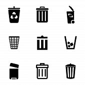 foto of dustbin  - Vector black trash can icons set on white background - JPG