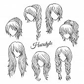 Hair styles sketch vector set