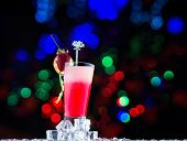Fresh strawberry cocktail with bokeh background
