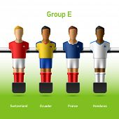 Table football / foosball players. Group E - Switzerland, Ecuador, France, Honduras. Vector.