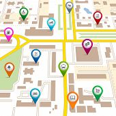 image of supermarket  - City map with pin pointers giving the location of various services such as the theatre  garage  hotel  hospital  supermarket  restaurant  park  dog walking  bus  library  and car park - JPG