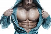 stock photo of hoods  - Strong Athletic Man Fitness Model Torso showing six pack abs - JPG