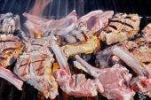 Roasted Lamb Chops On Bbq Grill,