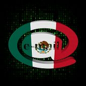 e-mail address AT symbol with Mexico flag on hex illustration