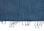 Edge Of Blue Jeans Fabric With Fringe