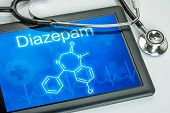 Tablet with the chemical formula of diazepam