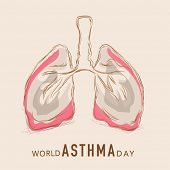 World Asthma Day concept with human lungs on abstract background.