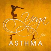 World Asthma Day concept with illustration of a yoga pose and stylish text on yellow background.