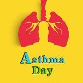 World Asthma Day concept with healthy human lungs and colorful text on yellow background.