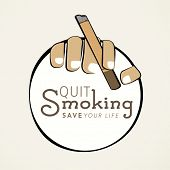 Sticker, tag or label design with cigarette in human hands and text Quit Smoking save your life.