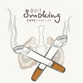 No Smoking concept with lungs and cigarette, World Asthma Day background with stylish text Stop Smok