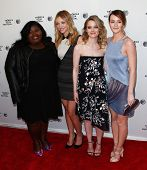 NEW YORK-APR 18: (L-R) Actors Gabourey Sidibe, Abby Elliot, Gillian Jacobs & Leighton Meester attend