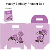 Template Gift Box For Wedding Favors. Freesia Flowers Bouquet.