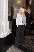 NEW YORK-APR 21, 2014: Actress & Project Sunshine Ambassador Abigail Breslin poses after flipping th
