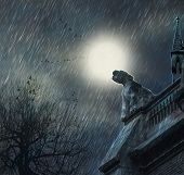 Постер, плакат: Rainy night and castle