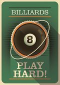 Retro billiards poster design. Vector illustration.