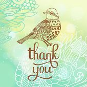 Thank you card in blue colors. Stylish floral background with text and cute cartoon bird in vector.