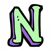cartoon letter N