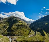 Himalayan valley in Himalayas. Lahaul valley, Himachal Pradesh, India