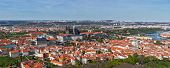 Aerial panorama of Hradchany: the Saint Vitus (St. Vitt's) Cathedral and Prague Castle. Prague, Czec