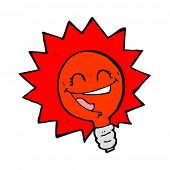 happy flashing red light bulb cartoon
