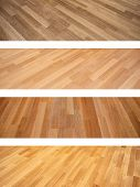 Collection of banners with new oak parquet texture