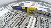 SAMARA, RUSSIA - JAN 05, 2014 : Aerial view to family store IKEA in Samara with car parking.
