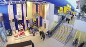 SAMARA, RUSSIA - JAN 05, 2014 : Aerial view to escalator in front of store IKEA in Samara. IKEA Founded in Sweden in 1943, Ikea is the worlds largest furniture retailer.