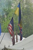 KIEV, UKRAINE - APR 19, 2014: Flags of countries, that support Putsch of Junta in Kiev. Camp of riot