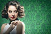 Sensual Woman Vintage Interior Retro Style