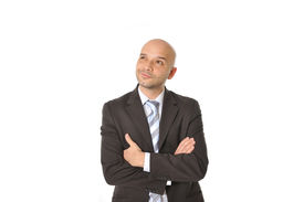 picture of bald headed  - Caucasian Happy Young Business Man with bald head Thinking Doubting and Considering a Decision Isolated in White Background - JPG