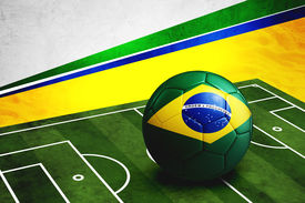 foto of football pitch  - Soccer ball with Brazil flag on soccer pitch - JPG