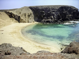 stock photo of papagayo  - aerial view of the papagayo beach in Canary Lanzarote