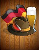 Beer Glass, German Flag And  Oktoberfest Hat