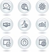 Internet web icons set 1, white circle buttons