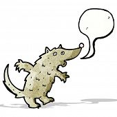 cartoon wolf with speech bubble