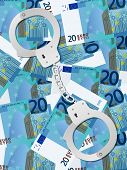 Handcuffs On Twenty Euro Background Vertical