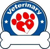 Veterinary Blue Circle Label Design With Love Paw Dog