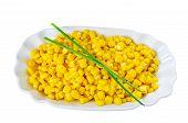 Maize Grains In White Bowl
