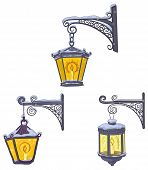 Vintage street lanterns with snow