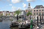 People On A Terrace In The Center Of Leiden.
