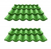 Green corrugated tile element of roof. Eps10 vector illustration. Isolated on white background