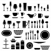 Set of silhouettes of cookware and kitchen accessories