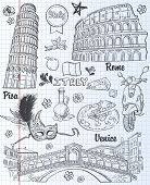A set of sights in Italy architecture food transportation items. black contour