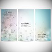 Set of vertical banners. Abstract blue background vector illustration